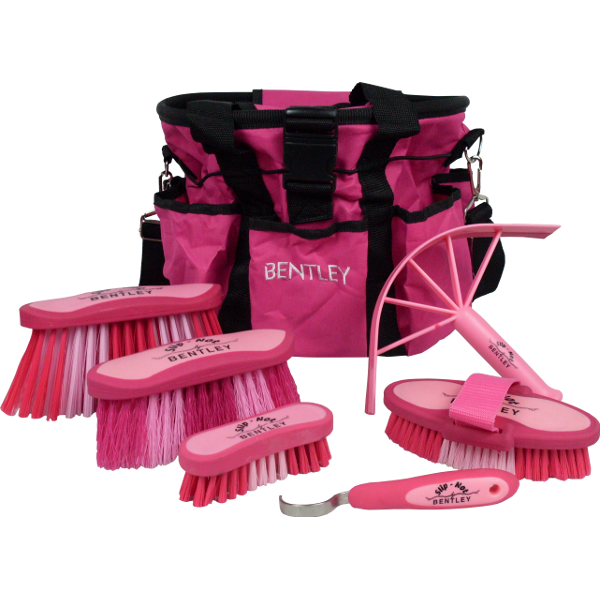 Bentley Slip Not Hoof Brush Pink At Burnhills: Bentley Slip-Not Delux Grooming Bag Kit